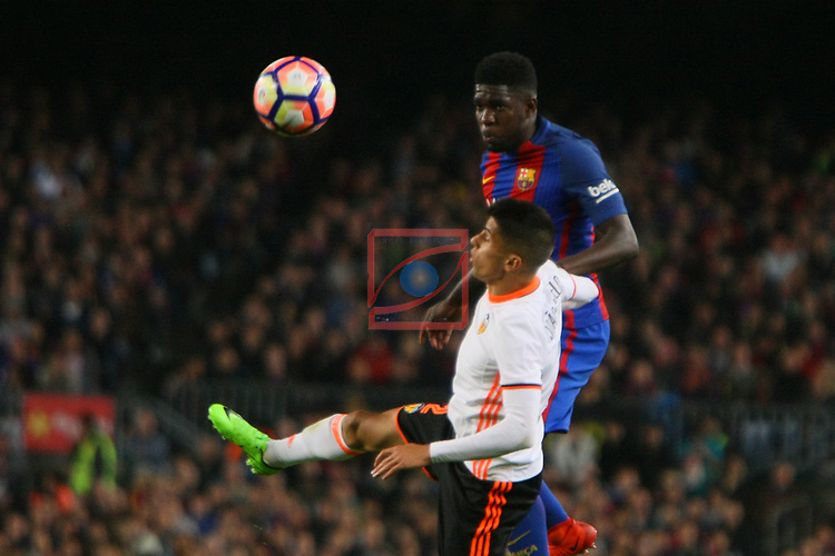 League Santander 2016/2017. Game: 28.<br /> FC Barcelona vs Valencia CF: 4-2.<br /> Joao Cancelo vs Samuel Umtiti.