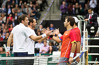 Rotterdam, The Netherlands. 16.02.2014. Michael Llodra(FRA)/Nicolas Mahut(FRA) and Jean-Julien Rojer(NED)/Horia Tecau(ROE)  ABN AMRO World tennis Tournament<br /> Photo:Tennisimages/Henk Koster