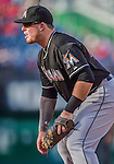 19 September 2015: Miami Marlins first baseman Justin Bour in action against the Washington Nationals at Nationals Park in Washington, DC. The Marlins fell to the Nationals 5-2 in the third game of their 4-game series. Mandatory Credit: Ed Wolfstein Photo *** RAW (NEF) Image File Available ***