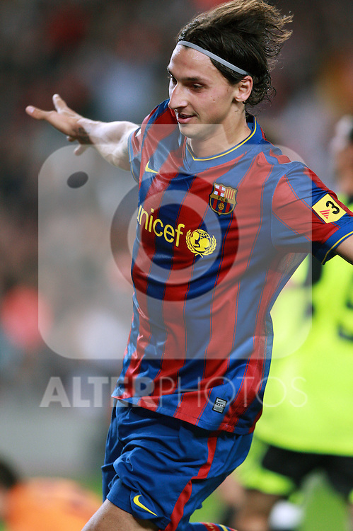 Football Season 2009-2010. Barcelona's Zlatan Ibrahimovic celebrates a goal during their Spanish first division soccer match at Camp Nou stadium in Barcelona October 25, 2009