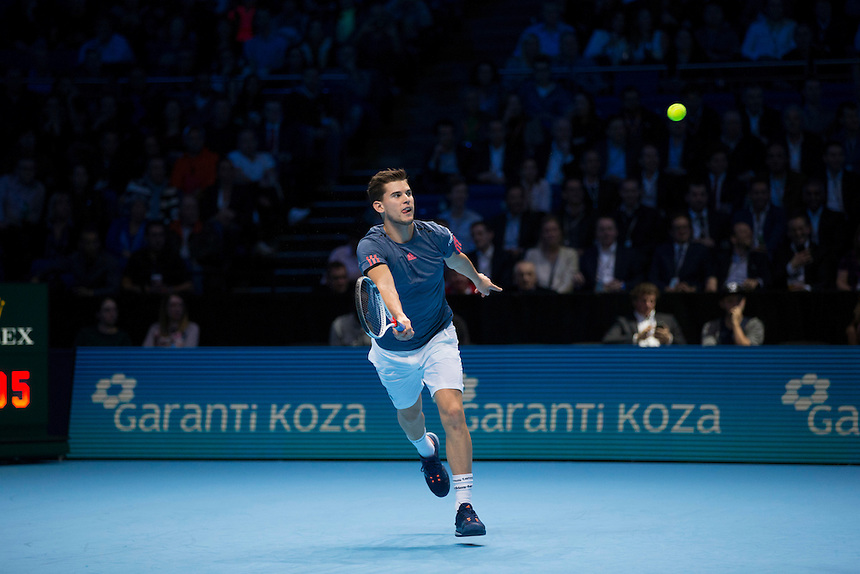 Dominic Thiem of Austria in action against Milos Raonic of Canada in their Group Ivan Lendl match today<br /> <br /> Photographer Craig Mercer/CameraSport<br /> <br /> International Tennis - Barclays ATP World Tour Finals - Day 5 - Thursday 17th November 2016 - O2 Arena - London<br /> <br /> World Copyright &copy; 2016 CameraSport. All rights reserved. 43 Linden Ave. Countesthorpe. Leicester. England. LE8 5PG - Tel: +44 (0) 116 277 4147 - admin@camerasport.com - www.camerasport.com