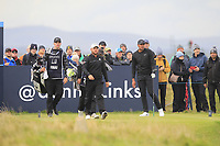 Jordan Smith (ENG) and Tony Finau (USA) on the 15th tee during Round 4 of the Alfred Dunhill Links Championship 2019 at St. Andrews Golf CLub, Fife, Scotland. 29/09/2019.<br /> Picture Thos Caffrey / Golffile.ie<br /> <br /> All photo usage must carry mandatory copyright credit (© Golffile | Thos Caffrey)