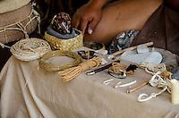 Hawaiian artifacts at Pu'uhonua o Honaunau (City of Refuge), South Kona, Big Island.