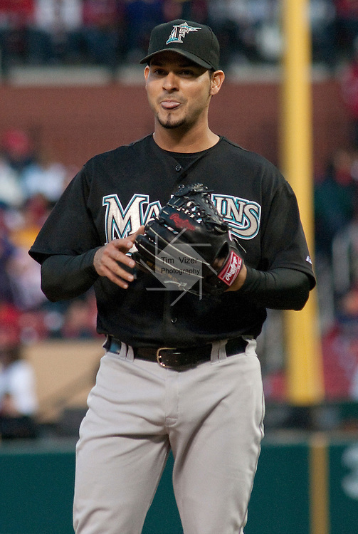 03 May 2011                             Florida Marlins starting pitcher Anibal Sanchez (19) reacts as he walks the batter. The St. Louis Cardinals hosted the Florida Marlins on Tuesday May 3, 2011 in the second game of a four-game series at Busch Stadium in downtown St. Louis.