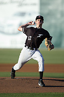 Kannapolis Intimidators starting pitcher Jimmy Lambert (12) in action against the Asheville Tourists at Kannapolis Intimidators Stadium on May 8, 2017 in Kannapolis, North Carolina.  The Tourists defeated the Intimidators 7-5.  (Brian Westerholt/Four Seam Images)