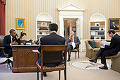 United States President Barack Obama has a foreign leader phone call in the Oval Office, August 20, 2012. Pictured, from left, are: Chief of Staff Jack Lew; Deputy National Security Advisor Denis McDonough; and Steve Simon, Senior Director for Middle East and North Africa. .Mandatory Credit: Pete Souza - White House via CNP