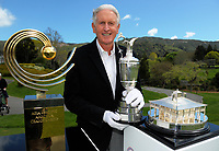 Sir Bob Charles with the trophies. 2017 Asia-Pacific Amateur Championship Media and Partner Golf Day at Royal Wellington Golf Club in Wellington, New Zealand on Monday, 16 October 2017. Photo: Dave Lintott / lintottphoto.co.nz