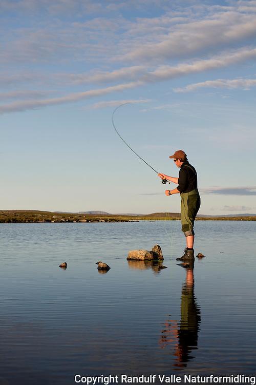 Mann fisker i lite vann på Sværholthalvøya. ---- Man flyfishing small lake.