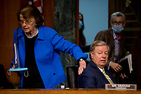United States Senator Lindsey Graham (Republican of South  Carolina), Chairman, US Senate Judiciary Committee, right, and US Senator Dianne Feinstein (Democrat of California), Ranking Member, US Senate Judiciary Committee, left, arrive for a committee hearing on Capitol Hill in Washington, Tuesday, June 9, 2020, to examine COVID-19 fraud, focusing on law enforcement's response to those exploiting the pandemic. <br /> Credit: Andrew Harnik / Pool via CNP/AdMedia