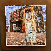 """Simple Times - Mixed Media - Nevada<br /> <br /> Each unique piece is made to order. If I have the piece in stock I can ship it in 2-3 days. If I don't have it in stock and it has to be made, it will ship in 1-2 weeks. Feel free to contact me at chey.rouse@gmail.com before you order if you need the piece ASAP. <br /> <br /> The photograph is printed on a Silk photo paper, the edges of the photo are torn, photo is mounted to foam board, then I mount it to an 8""""x8"""" piece of rusted metal. The rust is unique on each piece...no two pieces are alike. PLEASE keep in mind that the rust on the piece(s) you receive may be slightly different than the photo. Each piece of metal is sealed after it is done """"rusting"""" and is titled, hand signed and, ready to hang. To see the detail for theses Mixed Media pieces please click on the 1st photo in this gallery. You will be able to see the detail of the torn paper edge as well as the back of the piece."""