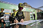 Adam Yates (GBR) Mitchelton-Scott at sign on before the 113th edition of Il Lombardia 2019 running 243km from Bergamo to Como, Italy. 12th Octobre 2019. <br /> Picture: Marco Alpozzi/LaPresse | Cyclefile<br /> <br /> All photos usage must carry mandatory copyright credit (© Cyclefile | LaPresse/Marco Alpozzi)