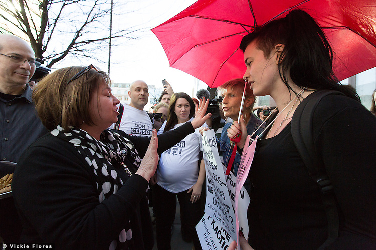 Feminist Gail Dines debates and argues with protesters from Sex and Censorship outside the Stop Porn Culture (SPC) event held in Wedge House in Southwark, London on 15 March 2014, which they believe aims to censor the freedom of sexual expression in the UK.