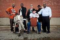 Men exonerated for crimes they did not commit include, top row, left to right, Patrick Waller (cq), Christopher Scott (cq), Steven Phillips (cq), Thomas McGowen (cq), Claude Simmons Jr. (cq) and bottom row, left to right, Johnnie Lindsey (cq), and Stephen Brodie (cq), during a group portrait in Dallas, Texas, Thursday, February 24, 2011. North Texas is home to the largest number of exonerees  in the United States due in large part to the support of District Attorney Craig Watkins (cq).