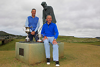 Adrian Morrow (Portmarnock) and Hugh Smith (Mourne) at the statue of Tom Morris with the Ulster Seniors and Ulster Veterans trophies during the Ulster Seniors Open Championship at Rosapenna Golf Resort in Downings, Donegal, Ireland.<br /> <br /> Picture: Thos Caffrey / Golffile<br /> <br /> All photo usage must carry mandatory copyright credit (&copy; Golffile | Thos Caffrey)