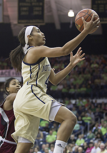 November 18, 2012:  Notre Dame guard Skylar Diggins (4) goes up for a shot during NCAA Women's Basketball game action between the Notre Dame Fighting Irish and the Massachusetts Minutewomen at Purcell Pavilion at the Joyce Center in South Bend, Indiana.  Notre Dame defeated Massachusetts 94-50.