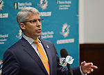 DAVIE, FL - JANUARY 28: The Miami Dolphins introduce new general manager Dennis Hickey at a news conference in Miami Dolphins Davie training facility on January 28, 2014 in Davie, Florida. (Photo by Johnny Louis/jlnphotography.com)