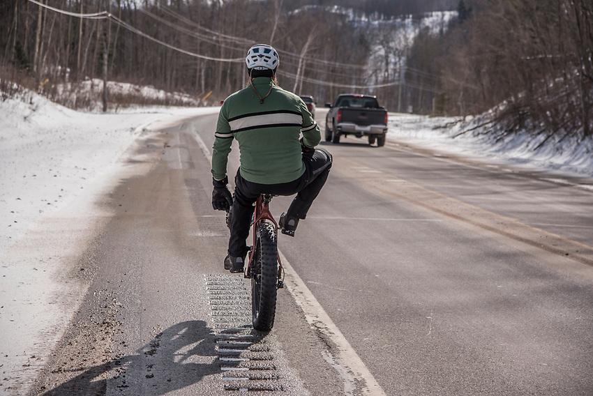 Fat biking in Marquette, Michigan.