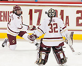 Serena Sommerfield (BC - 3) and Gabri Switag (BC - 32) juggle the puck together. - The Boston College Eagles defeated the visiting Providence College Friars 7-1 on Friday, February 19, 2016, at Kelley Rink in Conte Forum in Boston, Massachusetts.