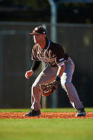 St. Bonaventure Bonnies third baseman David Hollins (24) during a game against the Dartmouth Big Green on February 25, 2017 at North Charlotte Regional Park in Port Charlotte, Florida.  St. Bonaventure defeated Dartmouth 8-7.  (Mike Janes/Four Seam Images)
