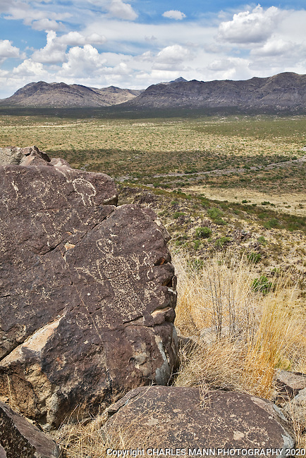 A mysterious  human figure is etched on a stone at Three Rivers State Park near Tularosa, New Mexico