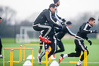 Wednesday  06 January 2016<br /> Pictured: Leon Britton of Swansea in action during training<br /> Re: Swansea City Training session at the Fairwood training ground, Swansea, Wales, UK