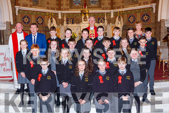 Pupils from Scartaglen NS with Bishop Ray Browne Principal and Fr Maurice Brick, Principal Tomas O'Connor and teacher Padrigeen O'Connell at the Confirmation in St Stephens and Johns church Castleisland on Thursday