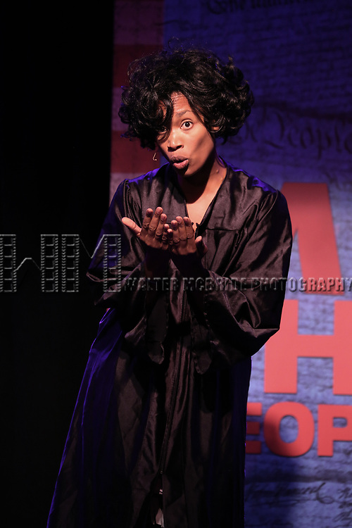Aiesha Dukes perform onstage during the 'ME THE PEOPLE: The Trump America Musical' Press Preview Presentation at The Triad Theater on June 21, 2017 in New York City.