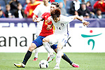 Spain's Hector Bellerin (l) and South Korea's Kookyoung Han during friendly match. June 1,2016.(ALTERPHOTOS/Acero)