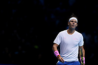 15th November 2019; 02 Arena. London, England; Nitto ATP Tennis Finals; A dejected Rafael Nadal (Spain) during his match with Stefanos Tsitsipas (Greece) - Editorial Use