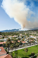 Santa Barbara, California - Smoke from early hours of Jesusita fire rises into sky, viewed from Courthouse tower. Tuesday May 5, 2009. 4:30pm