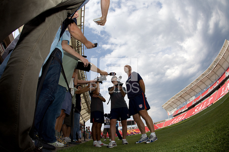 Bob Bradley speaks with the media after the .USMNT practice for the USA vs El Salvador World Cup Qualifying match at Rio Tinto Stadium, in Sandy, Utah, Friday, September 4, 2009.