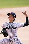 #17 Tanaka Shiori of Japan serves during the BFA Women's Baseball Asian Cup match between Japan and India at Sai Tso Wan Recreation Ground on September 6, 2017 in Hong Kong. Photo by Marcio Rodrigo Machado / Power Sport Images