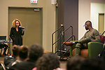 Chenoa Lewis asks Tarell Alvin McCraney a question, Friday, April 21, 2017 in the Lincoln Park Student Center. (Photo by Diane M. Smutny)