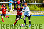 Dynamos Stefan Cvetkovic and Alfie Christie of the Park going one on one for possession in the Greyhound Bar KO Cup Semi Final in Mounthawk Park on Sunday.