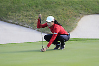 Jennifer Song (USA) on the 5th green during Thursday's Round 1 of The Evian Championship 2018, held at the Evian Resort Golf Club, Evian-les-Bains, France. 13th September 2018.<br /> Picture: Eoin Clarke | Golffile<br /> <br /> <br /> All photos usage must carry mandatory copyright credit (&copy; Golffile | Eoin Clarke)