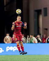 FOXBOROUGH, MA - SEPTEMBER 21: Erik Holt #20 of Real Salt Lake heads the ball during a game between Real Salt Lake and New England Revolution at Gillette Stadium on September 21, 2019 in Foxborough, Massachusetts.
