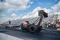 Jul 18, 2020; Clermont, Indiana, USA; NHRA top fuel driver Joe Morrison during qualifying for the Summernationals at Lucas Oil Raceway. Mandatory Credit: Mark J. Rebilas-USA TODAY Sports