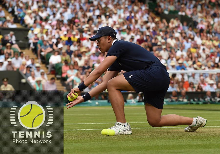 Wimbledon, 2/7/2014<br /> <br /> Ball boys<br /> <br /> <br /> &copy; Ray Giubilo/ Tennis Photo Network
