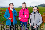 Coláiste Gleann Lí students Caoimhe O'Gorman, Aisling O'Connell and Gráinne Clifford after completing the ETB Junior Cycle Assessment orienteering on Friday morning in Ballyseede Woods.