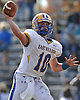 Anthony LaRosa #10, East Meadow quarterback, throws a pass during the Nassau County varsity football Conference I quarterfinals against host Baldwin High School on Saturday, Nov. 5, 2016. Baldwin won by a score of 35-8.