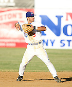 2007:  Darin Mastroianni of the Auburn Doubledays throws to first while playing second base vs. the Williamsport Crosscutters in New York-Penn League baseball action.  Photo copyright Mike Janes Photography 2007.
