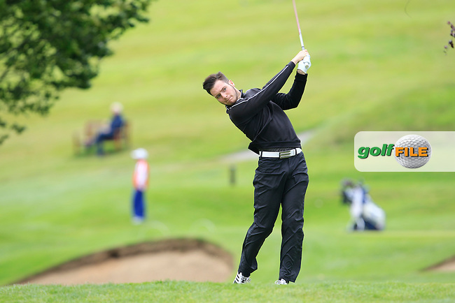 Mathew Murphy (Clandeboye) on the 13th tee during Round 1 of the Ulster Youths Championship at Belvoir Golf Club on Tuesday 4th August 2015.<br /> Picture:  Thos Caffrey / www.golffile.ie