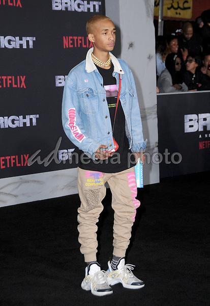 "13 December  2017 - Westwood, California - Jaden Smith. Netflix's ""Bright"" Los Angeles Premiere held at Regency Village Theatre in Westwood. Photo Credit: Birdie Thompson/AdMedia"