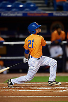St. Lucie Mets left fielder Jacob Zanon (21) follows through on a swing during the second game of a doubleheader against the Charlotte Stone Crabs on April 24, 2018 at First Data Field in Port St. Lucie, Florida.  St. Lucie defeated Charlotte 6-5.  (Mike Janes/Four Seam Images)