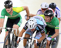 MSC Dylan Kennett and Shane Archbold at the BikeNZ Elite & U19 Track National Championships, Avantidrome, Home of Cycling, Cambridge, New Zealand, Sunday, March 16, 2014. Credit: Dianne Manson