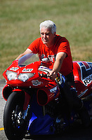 Sept. 5, 2010; Clermont, IN, USA; NHRA pro stock motorcycle rider Mike Berry during qualifying for the U.S. Nationals at O'Reilly Raceway Park at Indianapolis. Mandatory Credit: Mark J. Rebilas-