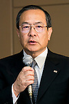 Toshiba Corp President and CEO Masashi Muromachi speaks during a press conference at the company headquarters on December 21, 2015, Tokyo, Japan. Toshiba announced a restructuring plan to cut 6,800 employees from its consumer electronics operations and sell its TV and washing machine manufacturing plant in Indonesia to Skyworth, a Hong Kong-based TV maker. The company expects a net loss of around 550 billion yen ($4.53 billion) during its fiscal year ending in March 2016. (Photo by Rodrigo Reyes Marin/AFLO)