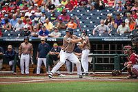 Adam Haseley (7) of the Virginia Cavaliers bats during a game between the Virginia Cavaliers and Arkansas Razorbacks at TD Ameritrade Park on June 13, 2015 in Omaha, Nebraska. (Brace Hemmelgarn/Four Seam Images)