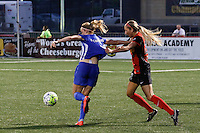 Rochester, NY - Friday May 27, 2016: Western New York Flash defender Courtney Niemiec (23) attempts to slow Boston Breakers midfielder Louise Schillgard (10). The Western New York Flash defeated the Boston Breakers 4-0 during a regular season National Women's Soccer League (NWSL) match at Rochester Rhinos Stadium.