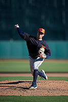 Detroit Tigers relief pitcher Kyle Funkhouser (76) delivers a pitch during a Grapefruit League Spring Training game against the Baltimore Orioles on March 3, 2019 at Ed Smith Stadium in Sarasota, Florida.  Baltimore defeated Detroit 7-5.  (Mike Janes/Four Seam Images)
